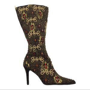 Colin Stuart Vintage Embroidered Beaded Mid Calf Boot Size 6 NWOB
